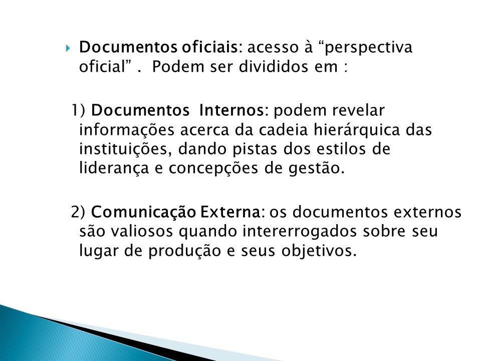 Documentos oficiais: acesso à perspectiva oficial. Podem ser divididos em : 1) Documentos Internos: podem revelar informações acerca da cadeia hierárq