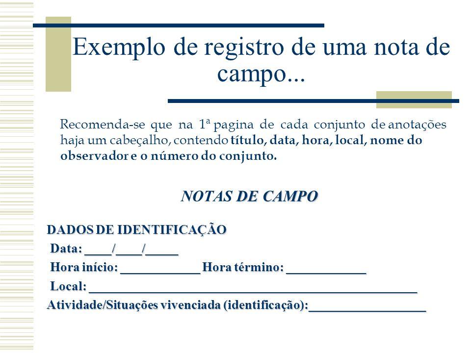 Exemplo de registro de uma nota de campo...