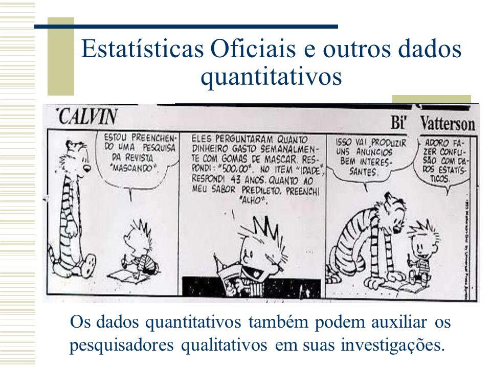 Estatísticas Oficiais e outros dados quantitativos Os dados quantitativos também podem auxiliar os pesquisadores qualitativos em suas investigações.