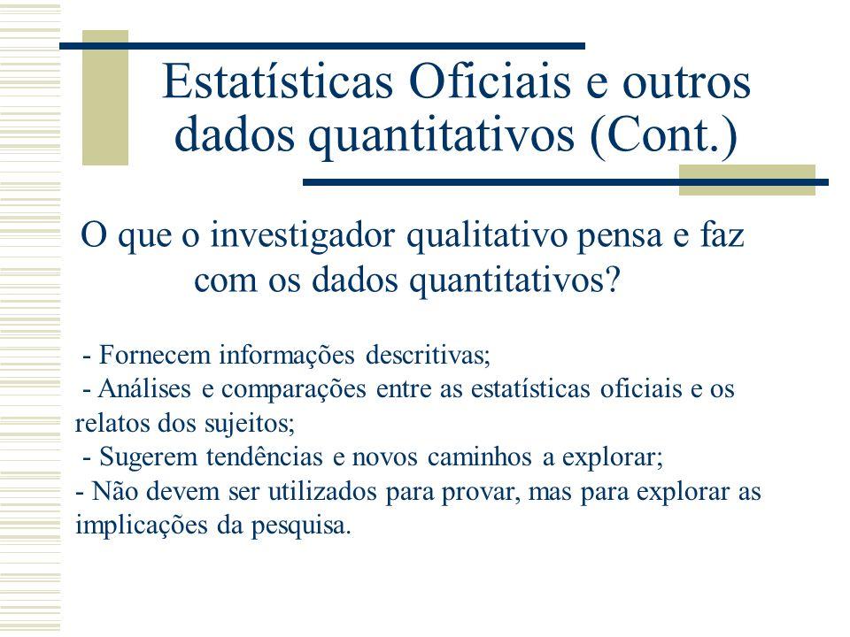 Estatísticas Oficiais e outros dados quantitativos (Cont.) O que o investigador qualitativo pensa e faz com os dados quantitativos.