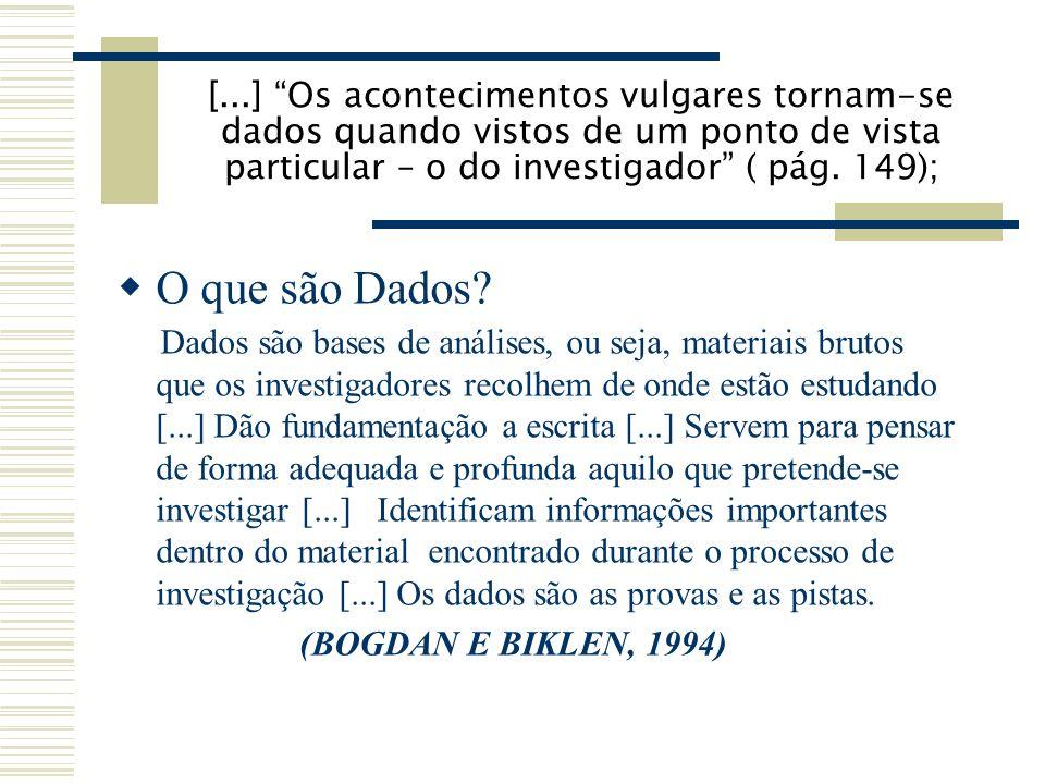 [...] Os acontecimentos vulgares tornam-se dados quando vistos de um ponto de vista particular – o do investigador ( pág.