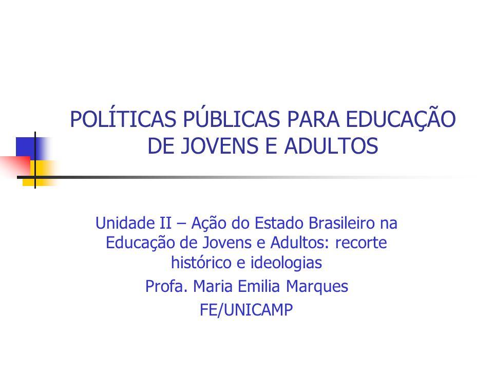 POLÍTICAS PÚBLICAS PARA EDUCAÇÃO DE JOVENS E ADULTOS Unidade II – Ação do Estado Brasileiro na Educação de Jovens e Adultos: recorte histórico e ideol
