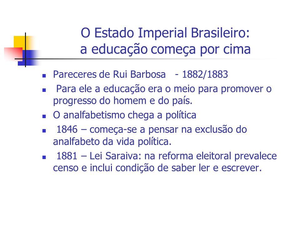 O Estado Imperial Brasileiro: a educação começa por cima Pareceres de Rui Barbosa - 1882/1883 Para ele a educação era o meio para promover o progresso