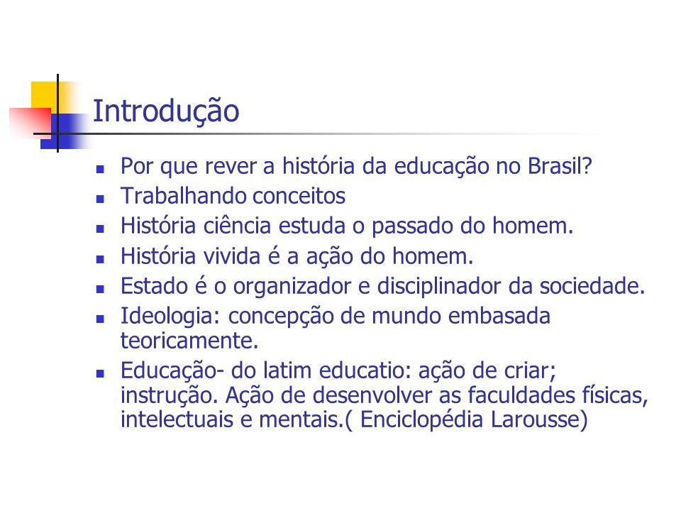Introdução Por que rever a história da educação no Brasil? Trabalhando conceitos História ciência estuda o passado do homem. História vivida é a ação