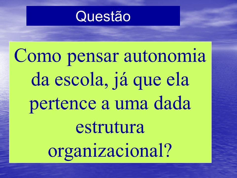 Questão Como pensar autonomia da escola, já que ela pertence a uma dada estrutura organizacional?