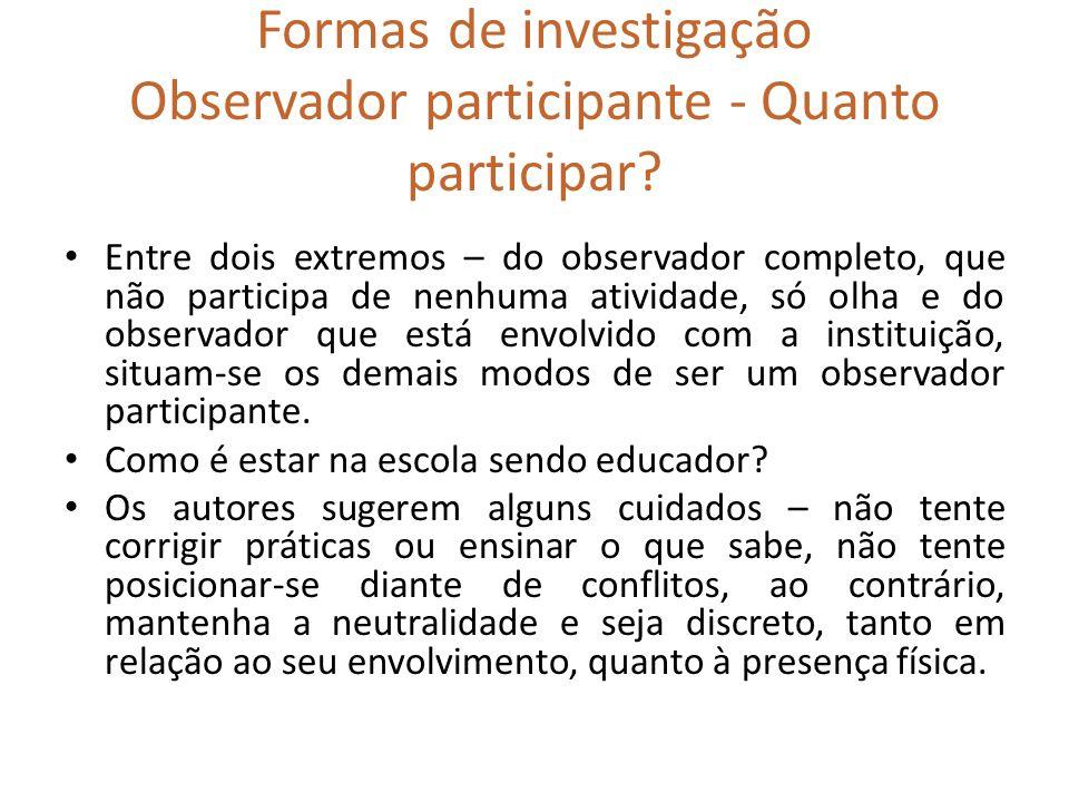 Formas de investigação Observador participante - Quanto participar? Entre dois extremos – do observador completo, que não participa de nenhuma ativida