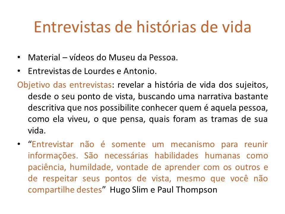 Entrevistas de histórias de vida Material – vídeos do Museu da Pessoa. Entrevistas de Lourdes e Antonio. Objetivo das entrevistas: revelar a história