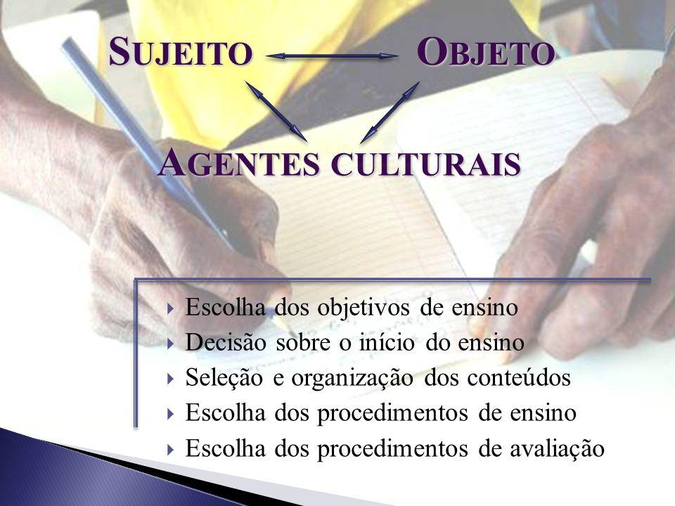 O BJETO A GENTES CULTURAIS Escolha dos objetivos de ensino Decisão sobre o início do ensino Seleção e organização dos conteúdos Escolha dos procedimen