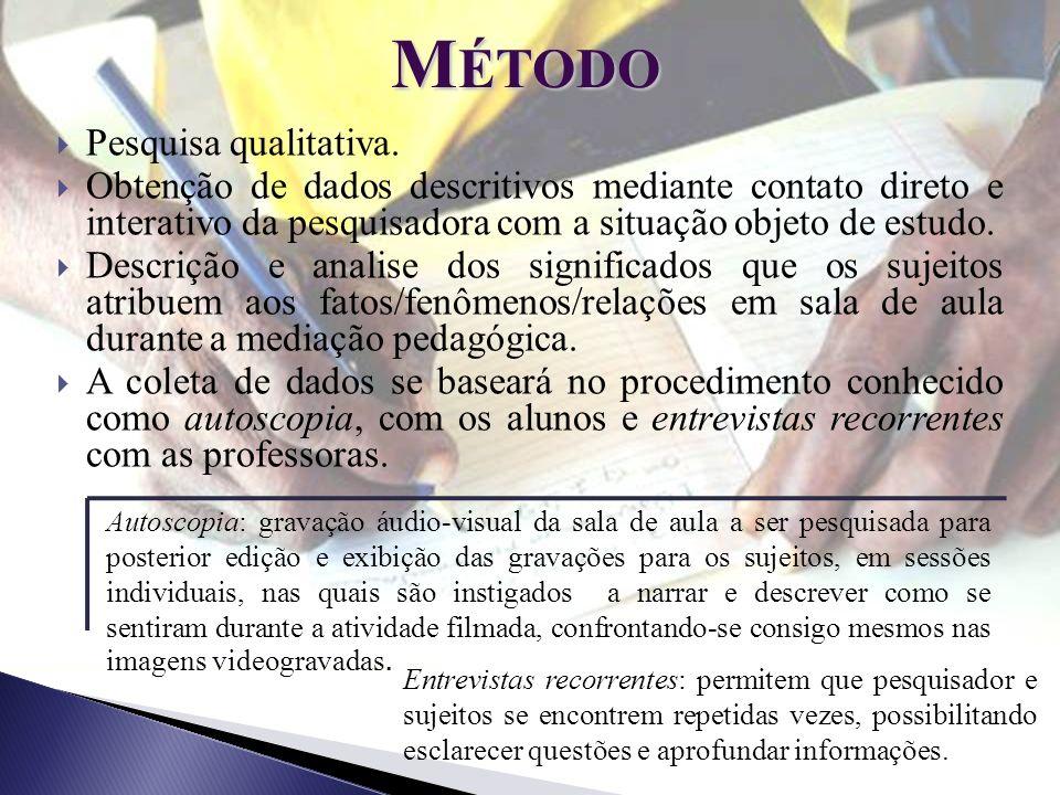 M ÉTODO Pesquisa qualitativa. Obtenção de dados descritivos mediante contato direto e interativo da pesquisadora com a situação objeto de estudo. Desc