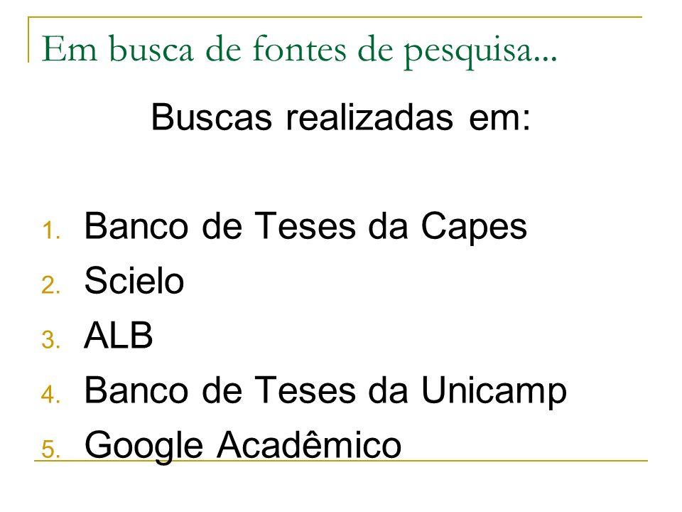 Em busca de fontes de pesquisa... Buscas realizadas em: 1. Banco de Teses da Capes 2. Scielo 3. ALB 4. Banco de Teses da Unicamp 5. Google Acadêmico