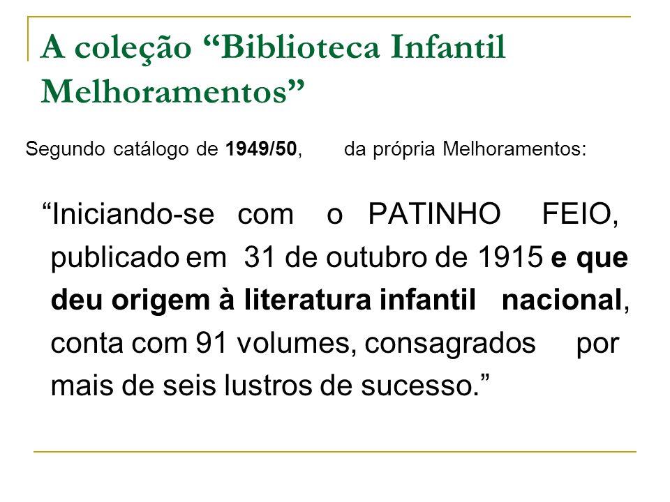 A coleção Biblioteca Infantil Melhoramentos Segundo catálogo de 1949/50, da própria Melhoramentos: Iniciando-se com o PATINHO FEIO, publicado em 31 de