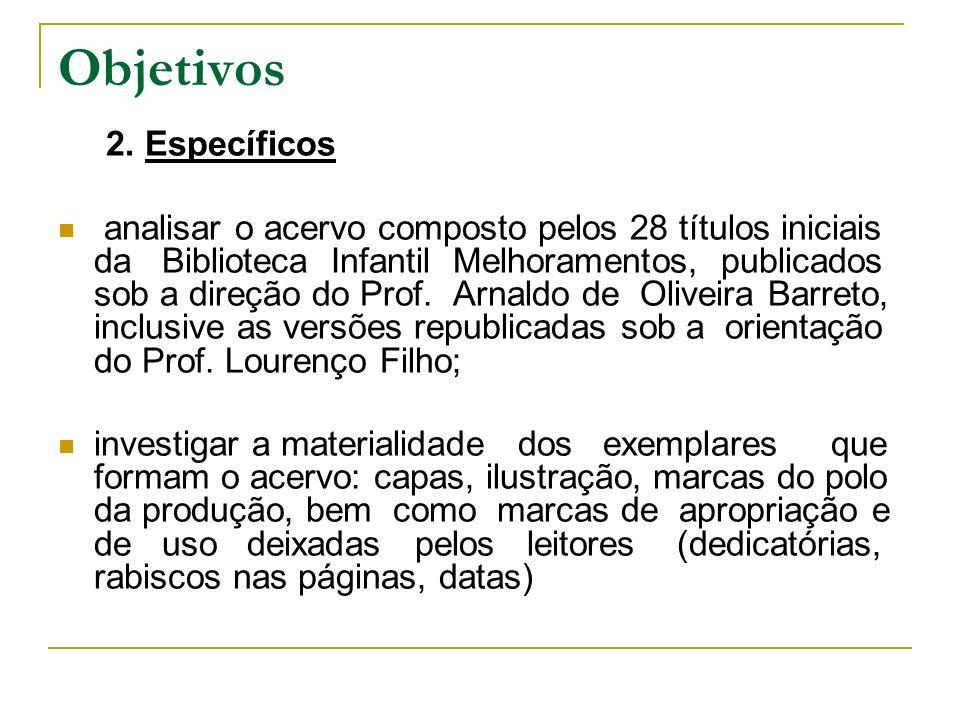Objetivos 2. Específicos analisar o acervo composto pelos 28 títulos iniciais da Biblioteca Infantil Melhoramentos, publicados sob a direção do Prof.