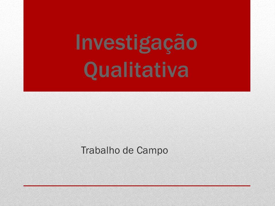 Investigação Qualitativa Trabalho de Campo