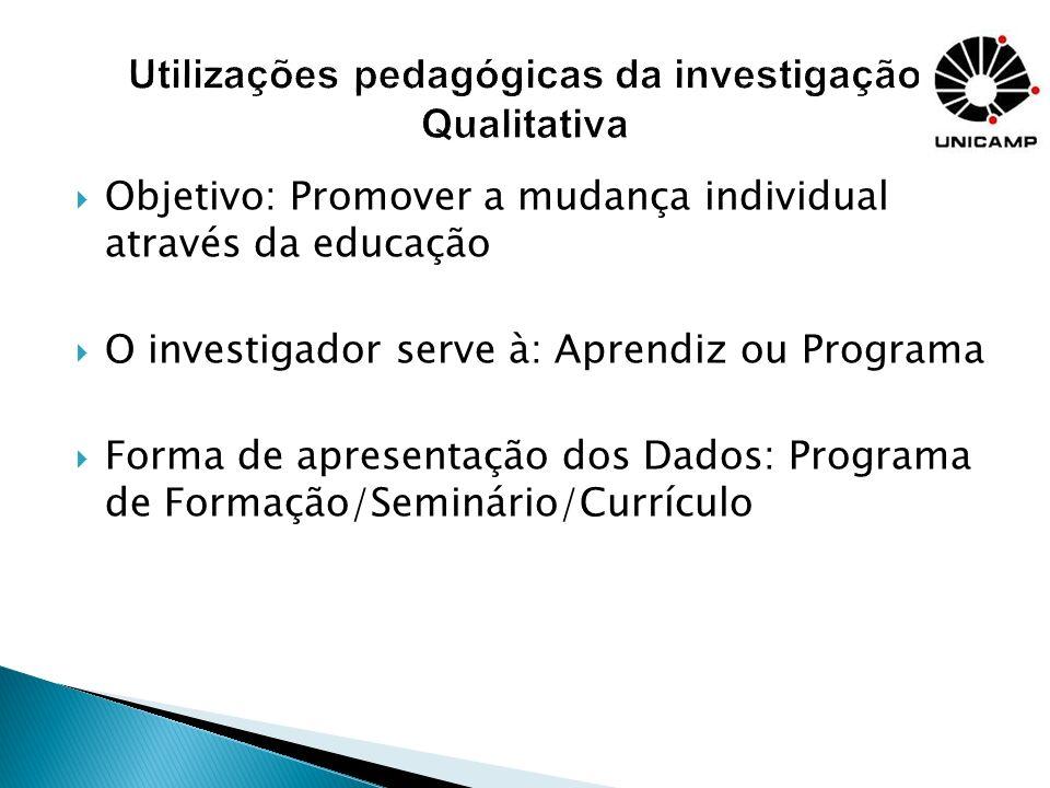 Como utilizar a investigação qualitativa para melhorar sua eficácia enquanto professor A abordagem qualitativa e a formação de professores Métodos qualitativos no currículo escolar