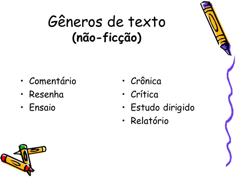 Gêneros de texto (não-ficção) Comentário Resenha Ensaio Crônica Crítica Estudo dirigido Relatório
