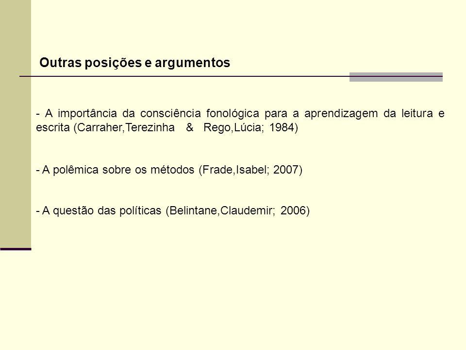 Outras posições e argumentos - A importância da consciência fonológica para a aprendizagem da leitura e escrita (Carraher,Terezinha & Rego,Lúcia; 1984