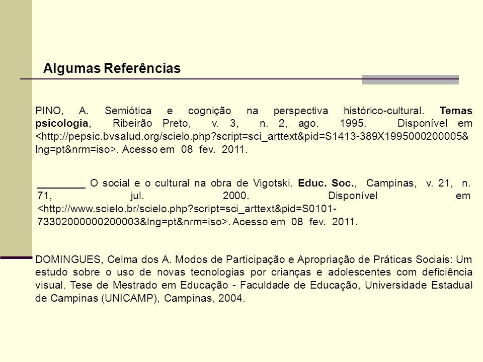 Algumas Referências PINO, A. Semiótica e cognição na perspectiva histórico-cultural. Temas psicologia, Ribeirão Preto, v. 3, n. 2, ago. 1995. Disponív