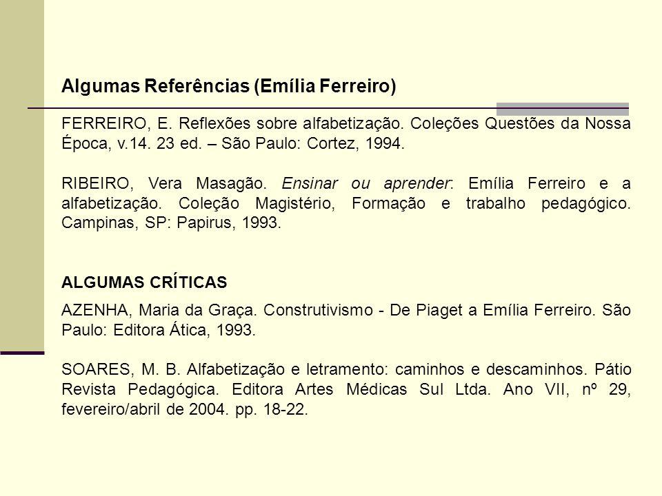 FERREIRO, E. Reflexões sobre alfabetização. Coleções Questões da Nossa Época, v.14. 23 ed. – São Paulo: Cortez, 1994. RIBEIRO, Vera Masagão. Ensinar o