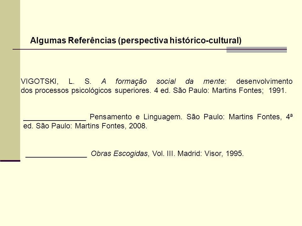 VIGOTSKI, L. S. A formação social da mente: desenvolvimento dos processos psicológicos superiores. 4 ed. São Paulo: Martins Fontes; 1991. Algumas Refe
