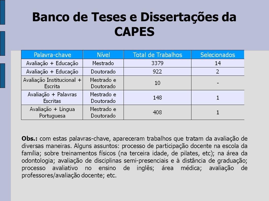 Banco de Teses e Dissertações da CAPES Obs.: com estas palavras-chave, apareceram trabalhos que tratam da avaliação de diversas maneiras. Alguns assun