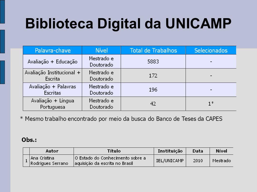 Biblioteca Digital da UNICAMP * Mesmo trabalho encontrado por meio da busca do Banco de Teses da CAPES Obs.: