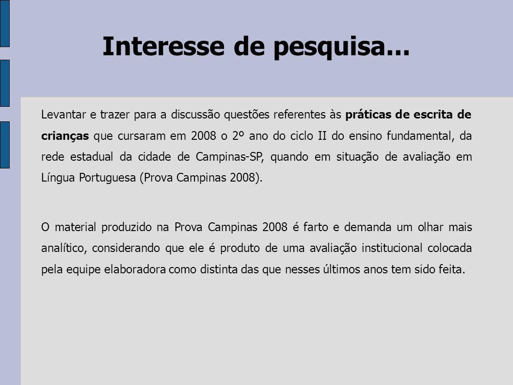 Interesse de pesquisa... Levantar e trazer para a discussão questões referentes às práticas de escrita de crianças que cursaram em 2008 o 2º ano do ci