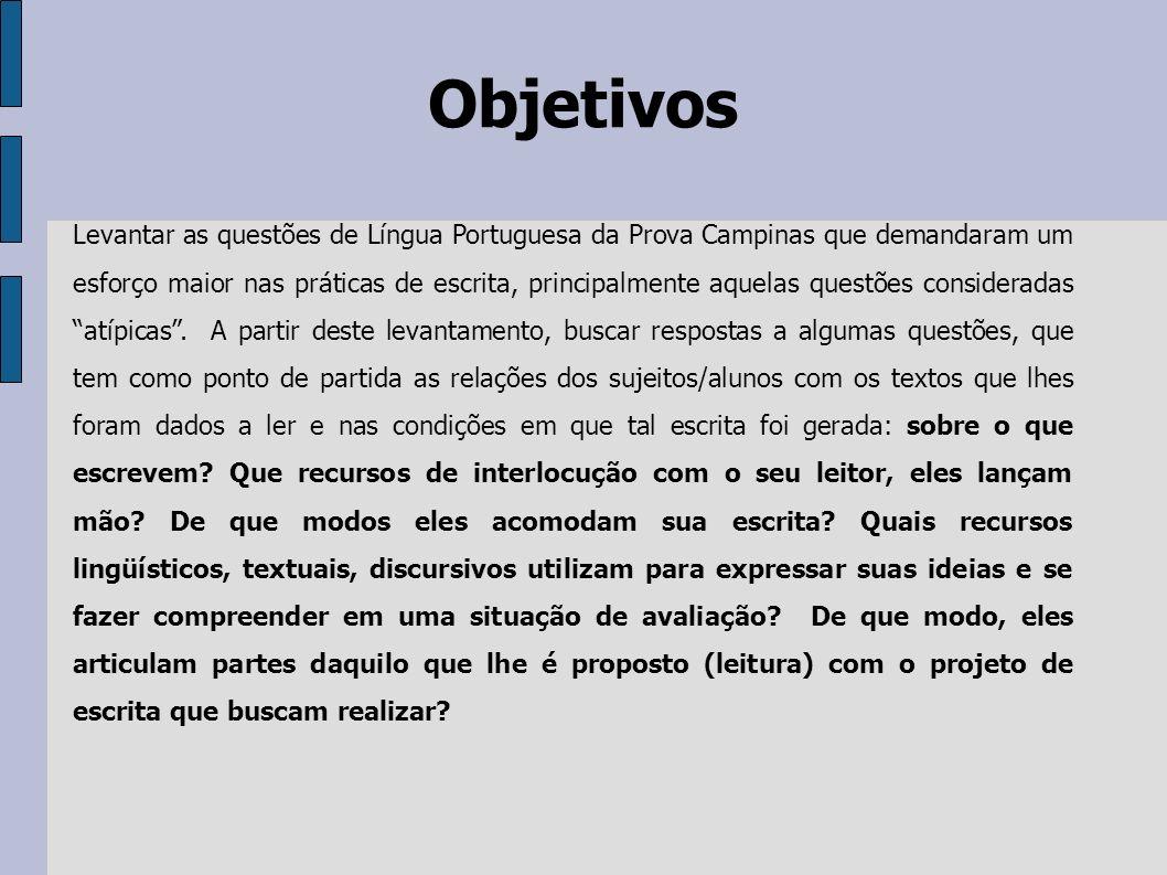 Objetivos Levantar as questões de Língua Portuguesa da Prova Campinas que demandaram um esforço maior nas práticas de escrita, principalmente aquelas