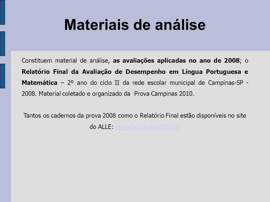 Materiais de análise Constituem material de análise, as avaliações aplicadas no ano de 2008; o Relatório Final da Avaliação de Desempenho em Língua Po
