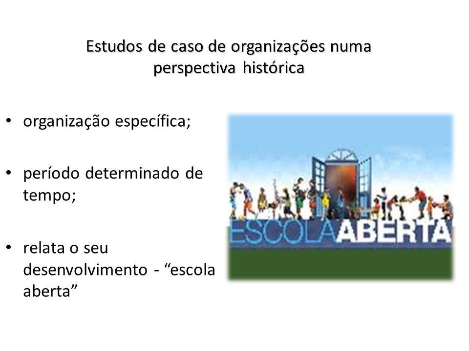 Estudos de caso de organizações numa perspectiva histórica organização específica; período determinado de tempo; relata o seu desenvolvimento - escola
