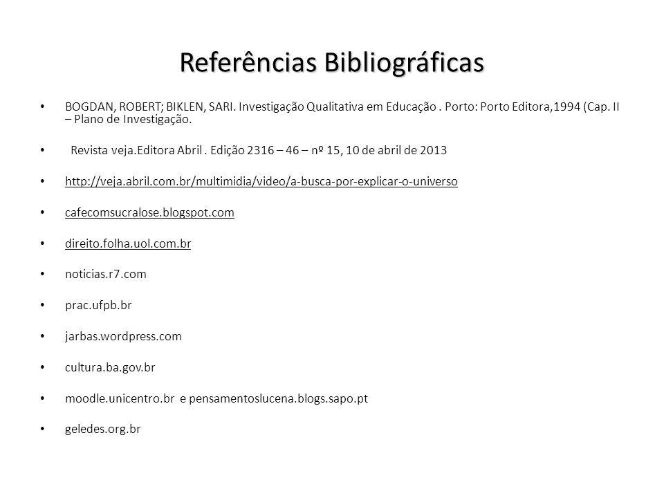 Referências Bibliográficas BOGDAN, ROBERT; BIKLEN, SARI. Investigação Qualitativa em Educação. Porto: Porto Editora,1994 (Cap. II – Plano de Investiga