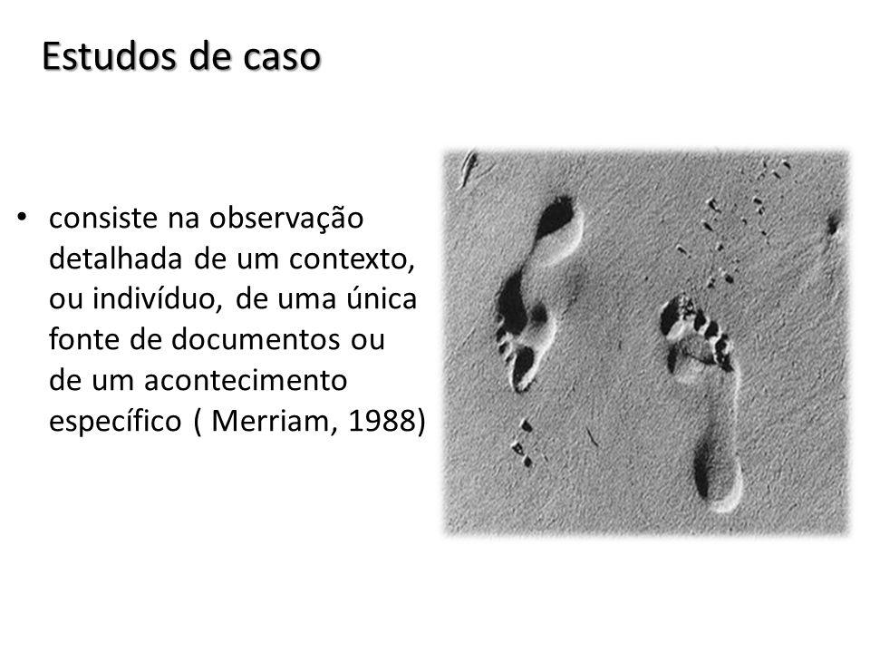 Estudos de caso consiste na observação detalhada de um contexto, ou indivíduo, de uma única fonte de documentos ou de um acontecimento específico ( Me
