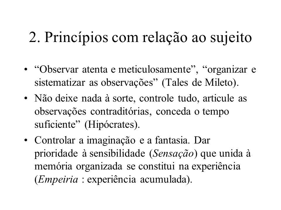 2. Princípios com relação ao sujeito Observar atenta e meticulosamente, organizar e sistematizar as observações (Tales de Mileto). Não deixe nada à so