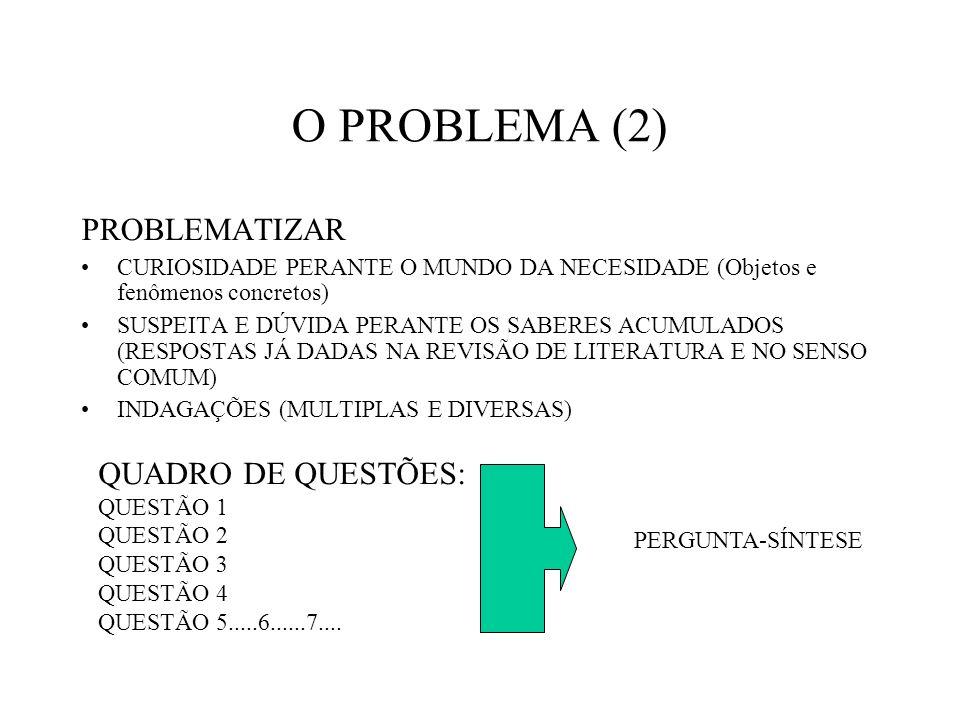 O PROBLEMA (2) PROBLEMATIZAR CURIOSIDADE PERANTE O MUNDO DA NECESIDADE (Objetos e fenômenos concretos) SUSPEITA E DÚVIDA PERANTE OS SABERES ACUMULADOS (RESPOSTAS JÁ DADAS NA REVISÃO DE LITERATURA E NO SENSO COMUM) INDAGAÇÕES (MULTIPLAS E DIVERSAS) QUADRO DE QUESTÕES: QUESTÃO 1 QUESTÃO 2 QUESTÃO 3 QUESTÃO 4 QUESTÃO 5.....6......7....