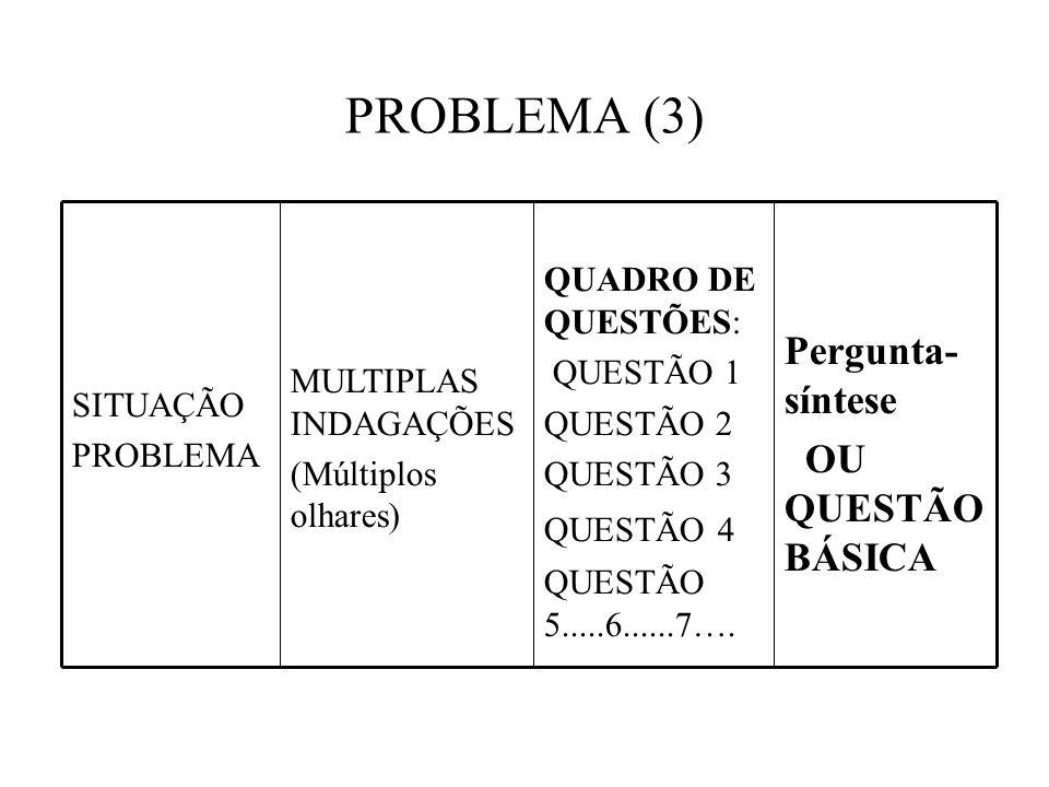 PROBLEMA (3) Pergunta- síntese OU QUESTÃO BÁSICA QUADRO DE QUESTÕES: QUESTÃO 1 QUESTÃO 2 QUESTÃO 3 QUESTÃO 4 QUESTÃO 5.....6......7….
