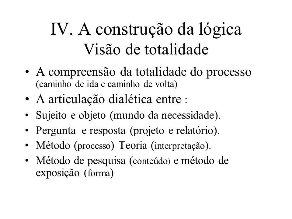 IV. A construção da lógica Visão de totalidade A compreensão da totalidade do processo (caminho de ida e caminho de volta) A articulação dialética ent