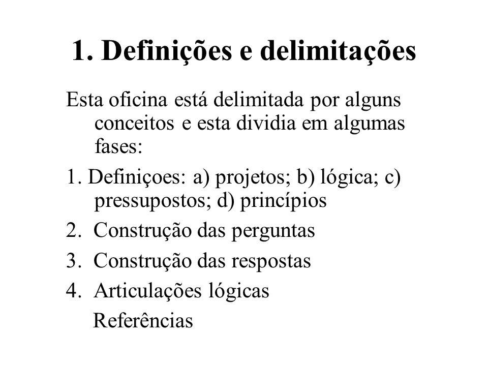 1. Definições e delimitações Esta oficina está delimitada por alguns conceitos e esta dividia em algumas fases: 1. Definiçoes: a) projetos; b) lógica;
