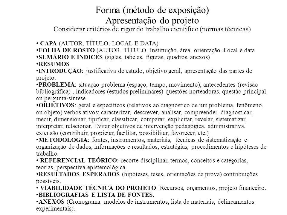 Forma (método de exposição) Apresentação do projeto Considerar critérios de rigor do trabalho científico (normas técnicas) CAPA (AUTOR, TÍTULO, LOCAL E DATA) FOLHA DE ROSTO (AUTOR.