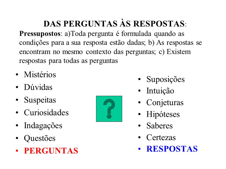 Tipos de respostas NÃO DISCIPLINADAS (Sem método) Razão mítica (Mitus) Senso comum (Doxa) DISCIPLINADAS E SISTEMATIZADAS (Com método) Ciência (Episteme) Filosofia (Sofia)