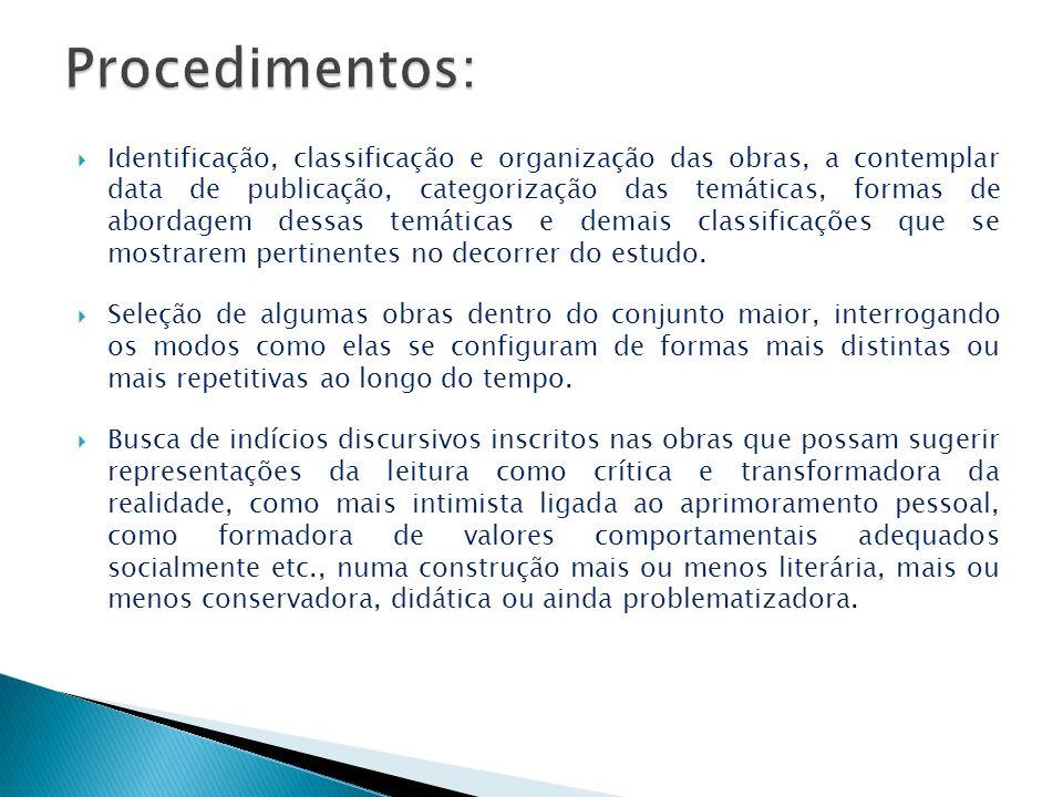 Identificação, classificação e organização das obras, a contemplar data de publicação, categorização das temáticas, formas de abordagem dessas temátic