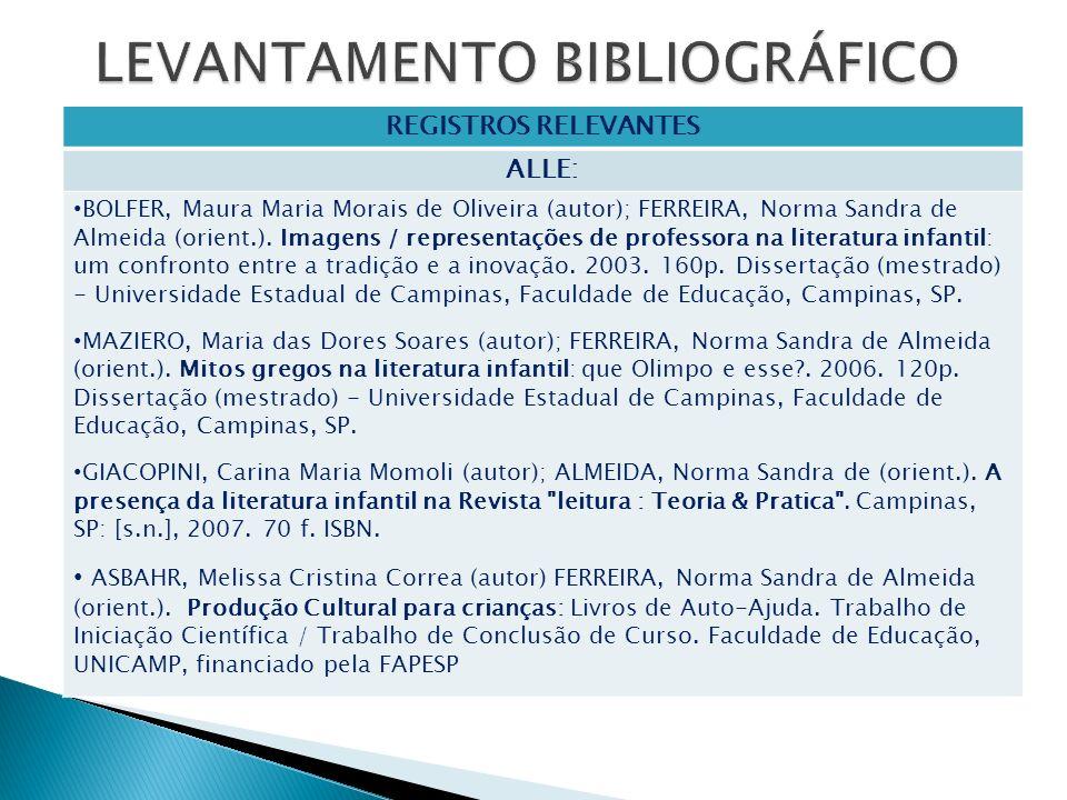 REGISTROS RELEVANTES ALLE: BOLFER, Maura Maria Morais de Oliveira (autor); FERREIRA, Norma Sandra de Almeida (orient.). Imagens / representações de pr