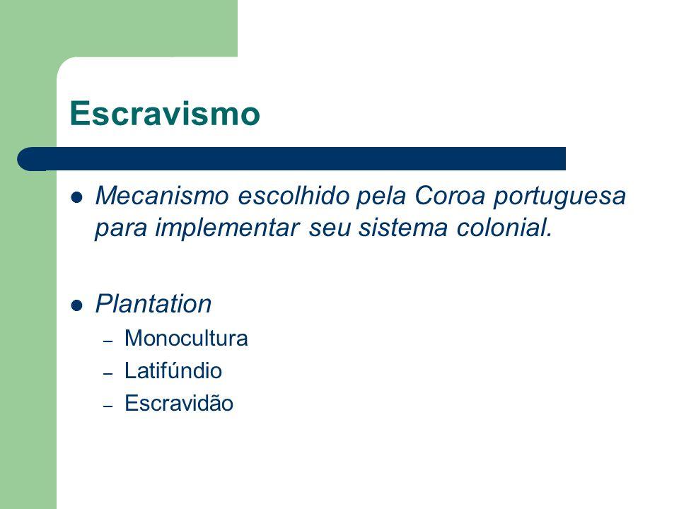 Escravismo Mecanismo escolhido pela Coroa portuguesa para implementar seu sistema colonial. Plantation – Monocultura – Latifúndio – Escravidão