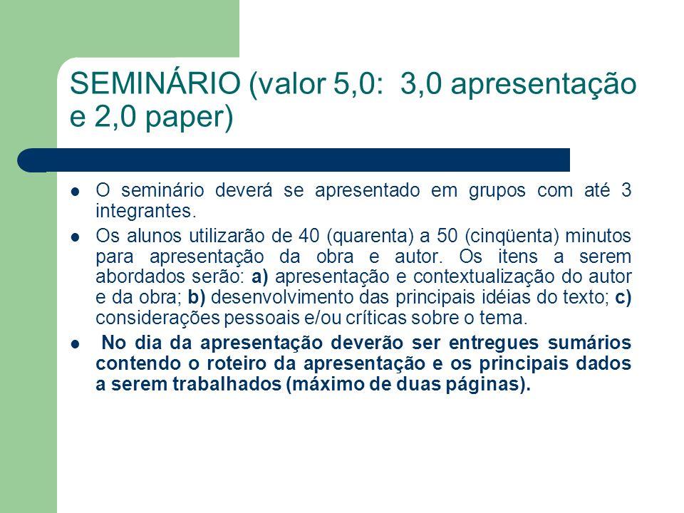 SEMINÁRIO (valor 5,0: 3,0 apresentação e 2,0 paper) O seminário deverá se apresentado em grupos com até 3 integrantes. Os alunos utilizarão de 40 (qua