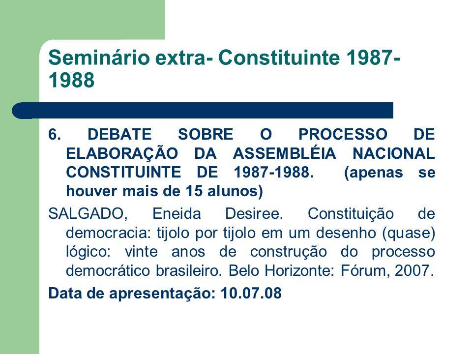 Seminário extra- Constituinte 1987- 1988 6. DEBATE SOBRE O PROCESSO DE ELABORAÇÃO DA ASSEMBLÉIA NACIONAL CONSTITUINTE DE 1987-1988. (apenas se houver