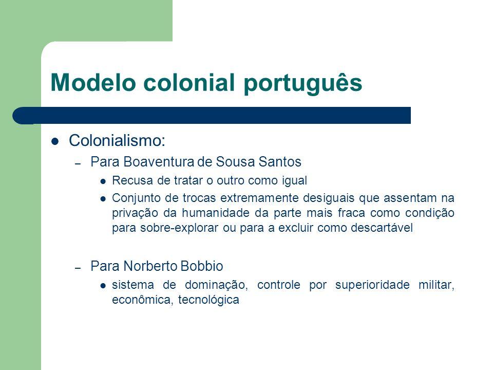 Modelo colonial português Colonialismo: – Para Boaventura de Sousa Santos Recusa de tratar o outro como igual Conjunto de trocas extremamente desiguai
