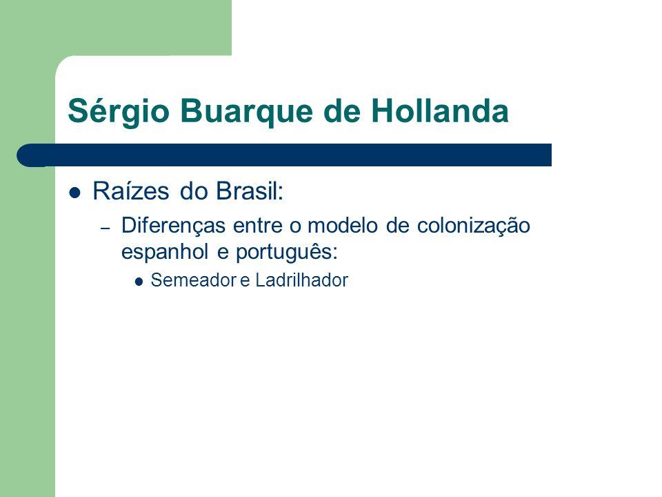 Sérgio Buarque de Hollanda Raízes do Brasil: – Diferenças entre o modelo de colonização espanhol e português: Semeador e Ladrilhador