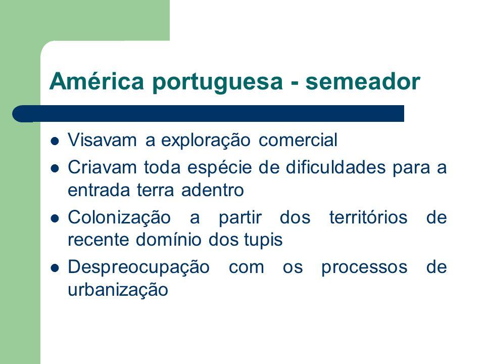 América portuguesa - semeador Visavam a exploração comercial Criavam toda espécie de dificuldades para a entrada terra adentro Colonização a partir dos territórios de recente domínio dos tupis Despreocupação com os processos de urbanização