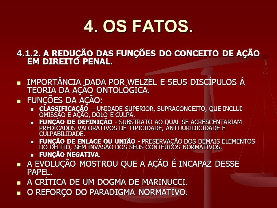 4.OS FATOS. 4.1.2. A REDUÇÃO DAS FUNÇÕES DO CONCEITO DE AÇÃO EM DIREITO PENAL.