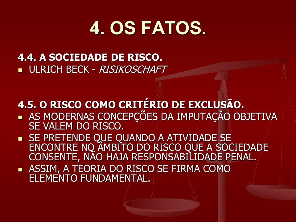 4.OS FATOS. 4.4. A SOCIEDADE DE RISCO. ULRICH BECK - RISIKOSCHAFT ULRICH BECK - RISIKOSCHAFT 4.5.