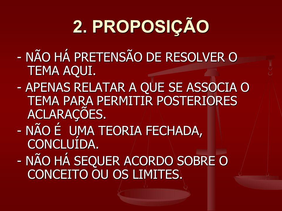 2.PROPOSIÇÃO - NÃO HÁ PRETENSÃO DE RESOLVER O TEMA AQUI.