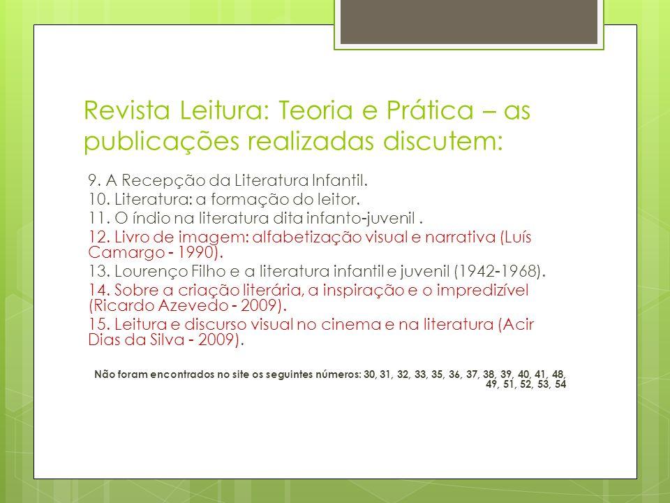 Revista Leitura: Teoria e Prática – as publicações realizadas discutem: 9. A Recepção da Literatura Infantil. 10. Literatura: a formação do leitor. 11